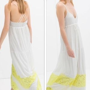 Zara White Maxi Dress with Yellow Lace Trim